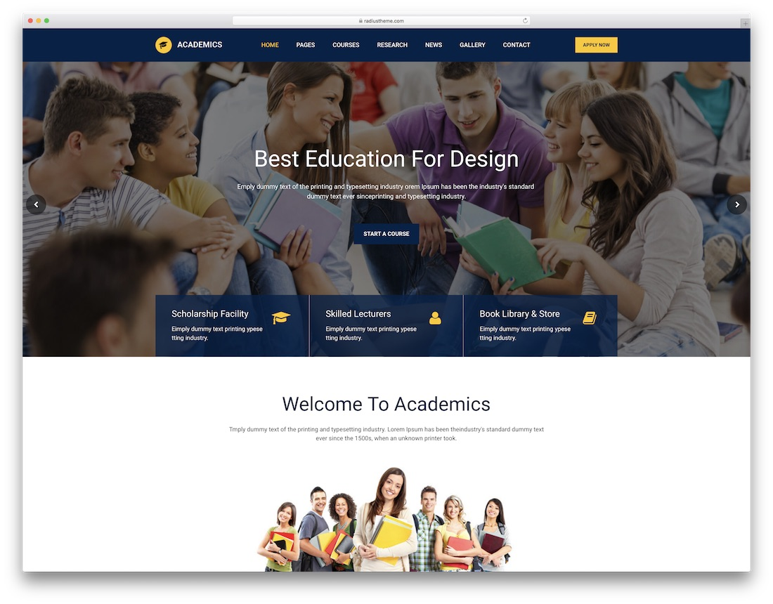 academics school website template