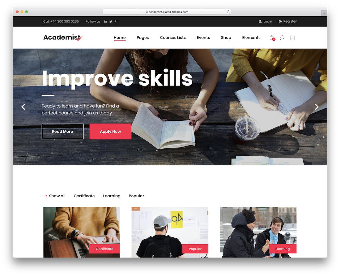 academist- theme wordpress educatif