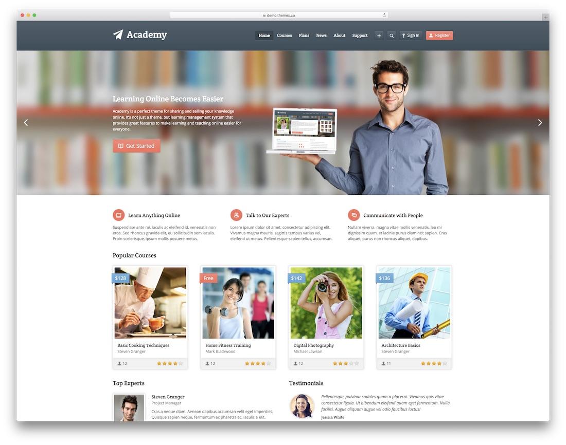 academy website template