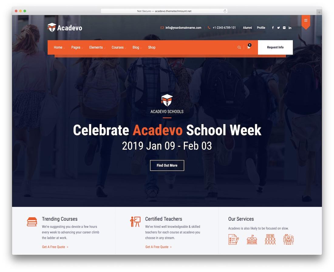 acadevo education website template