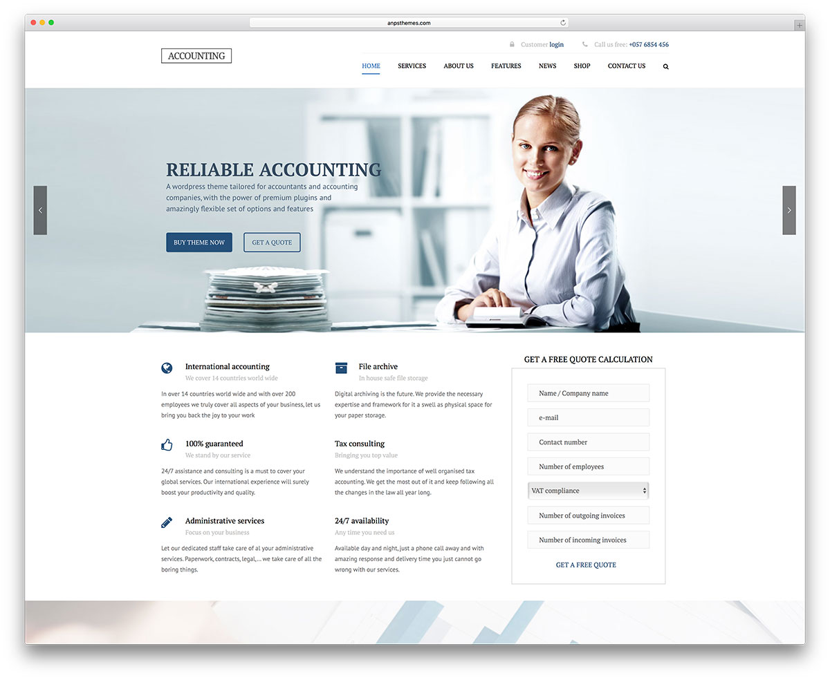 20 best financial company wordpress themes 2018 colorlib accounting simple wordpress website template accmission Images