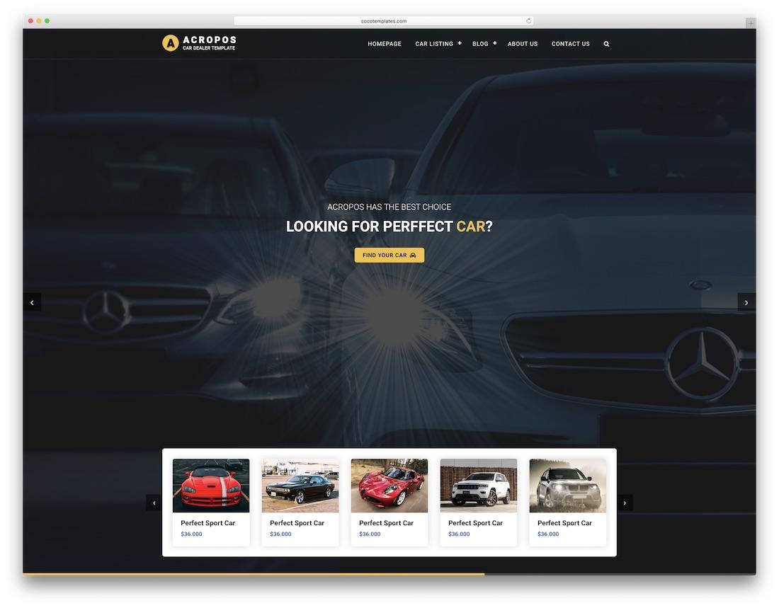 acropos automotive website template