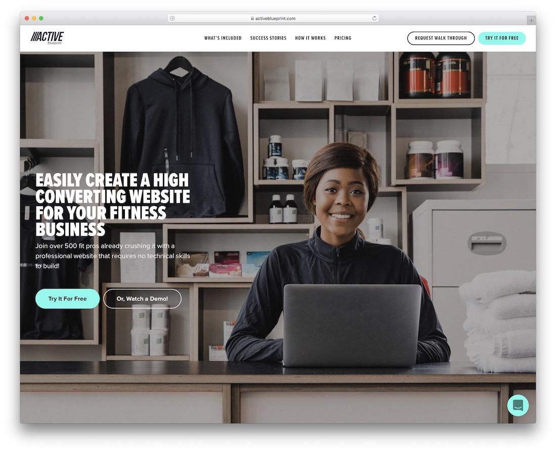 active blueprint website builder for gym