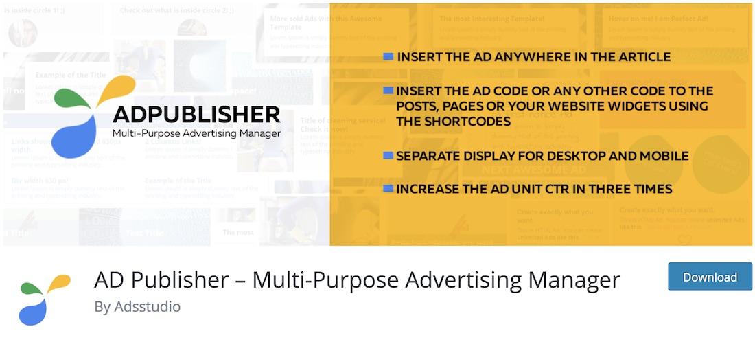 ad publisher free wordpress advertising plugin