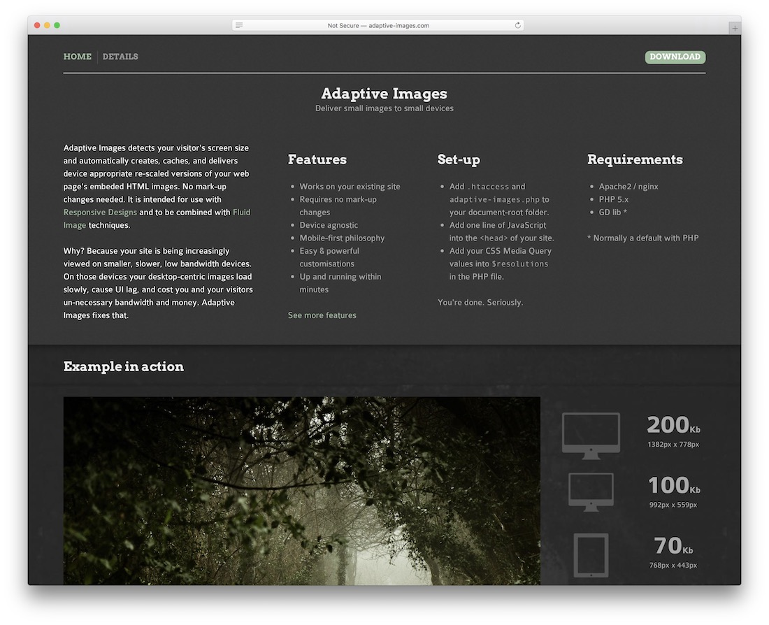 adaptive images web design tool