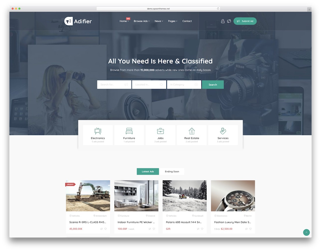 adifier wordpress classifieds directory theme