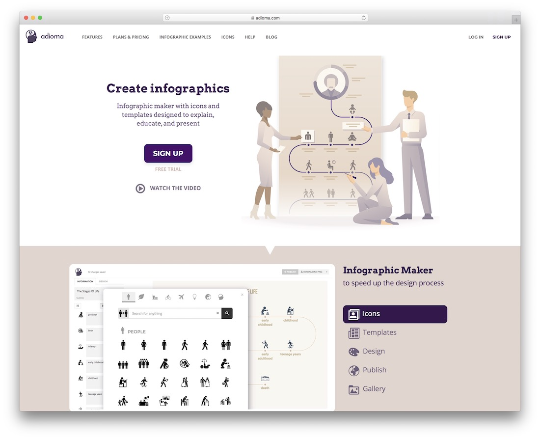 adioma tool for creating infographics