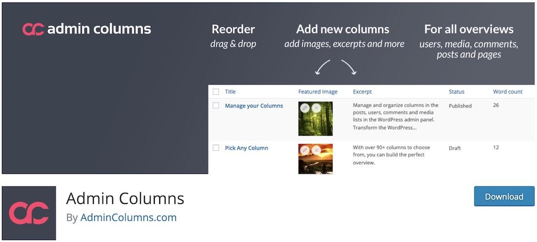 admin columns plugin