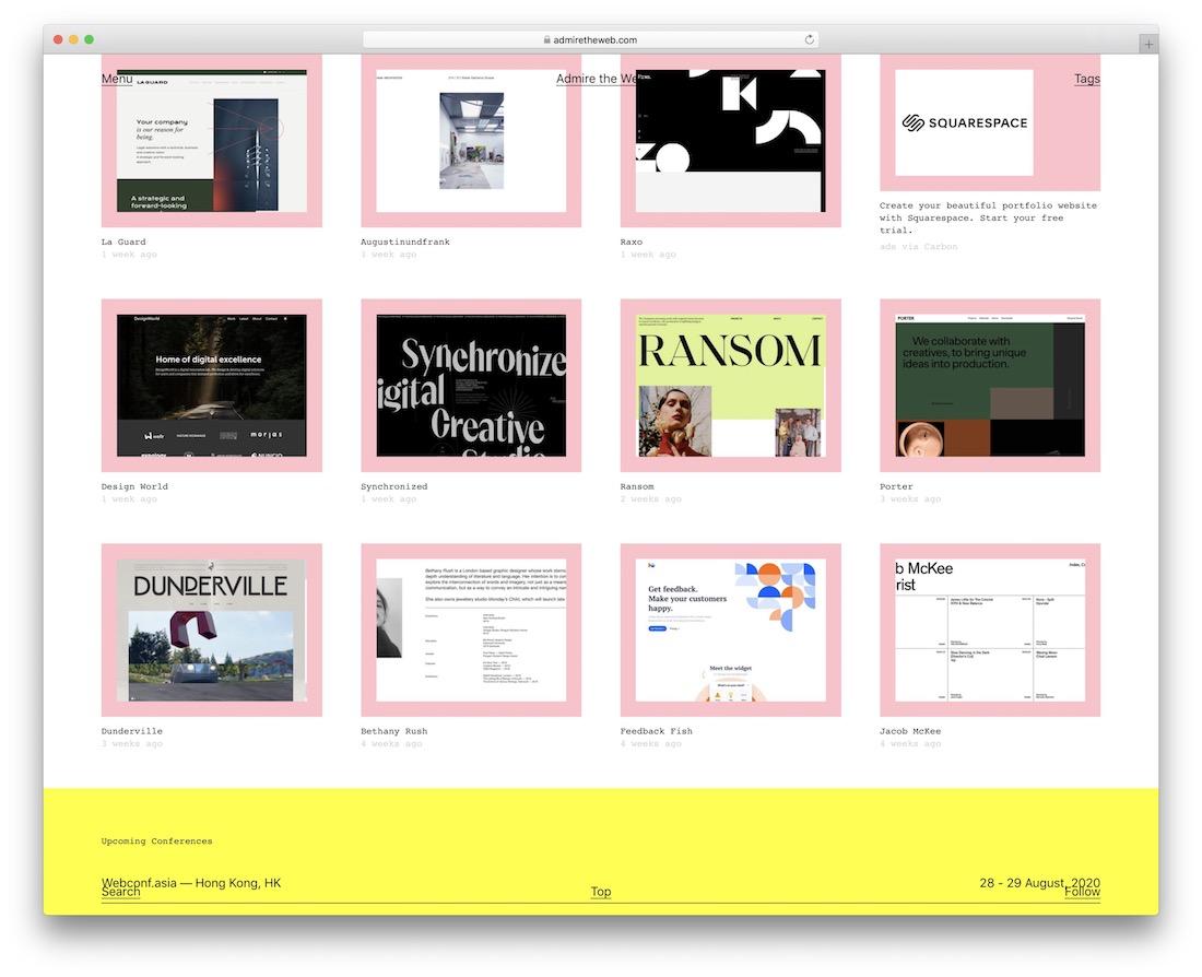 admire the web showcase inspiration web design