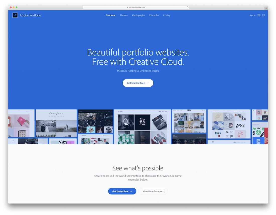 adobe portfolio best website builder for photographers
