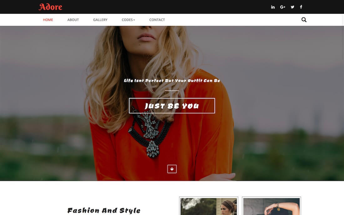 adore free fashion website template