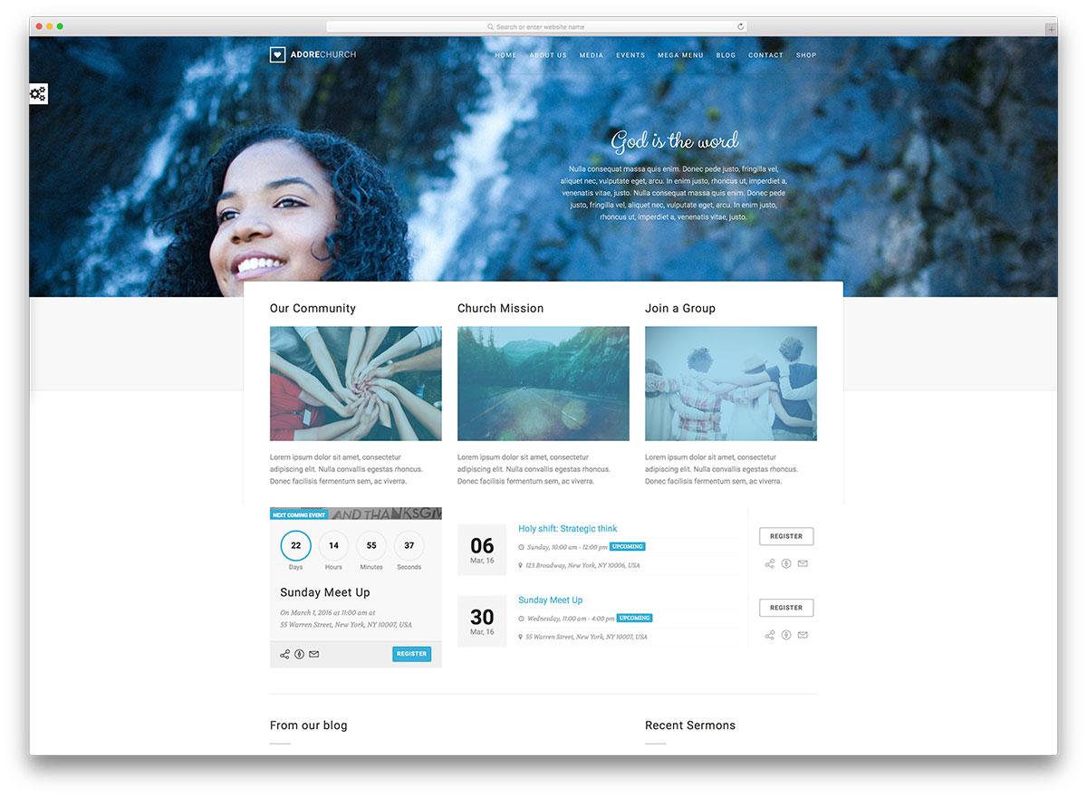 adore minimal church website template