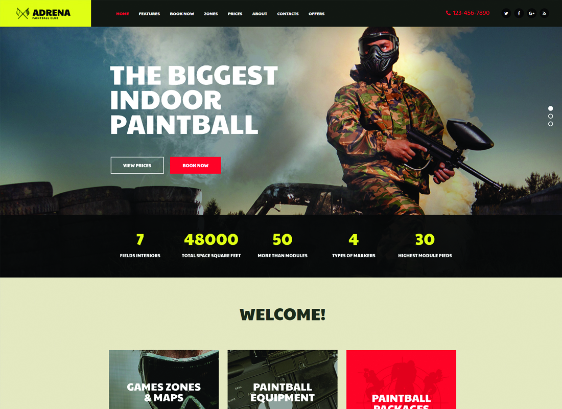 Adrena - Airsoft Club & Paintball WordPress Theme