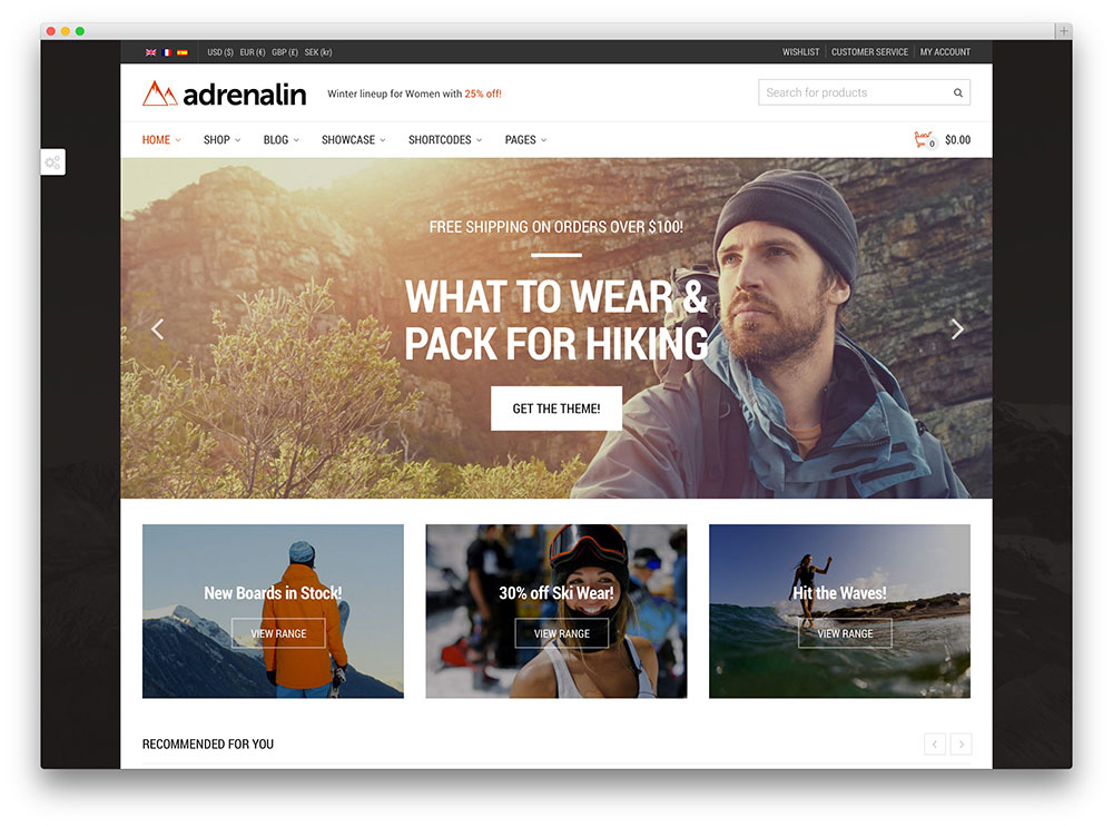adrenalin sports shop woocomemrce theme