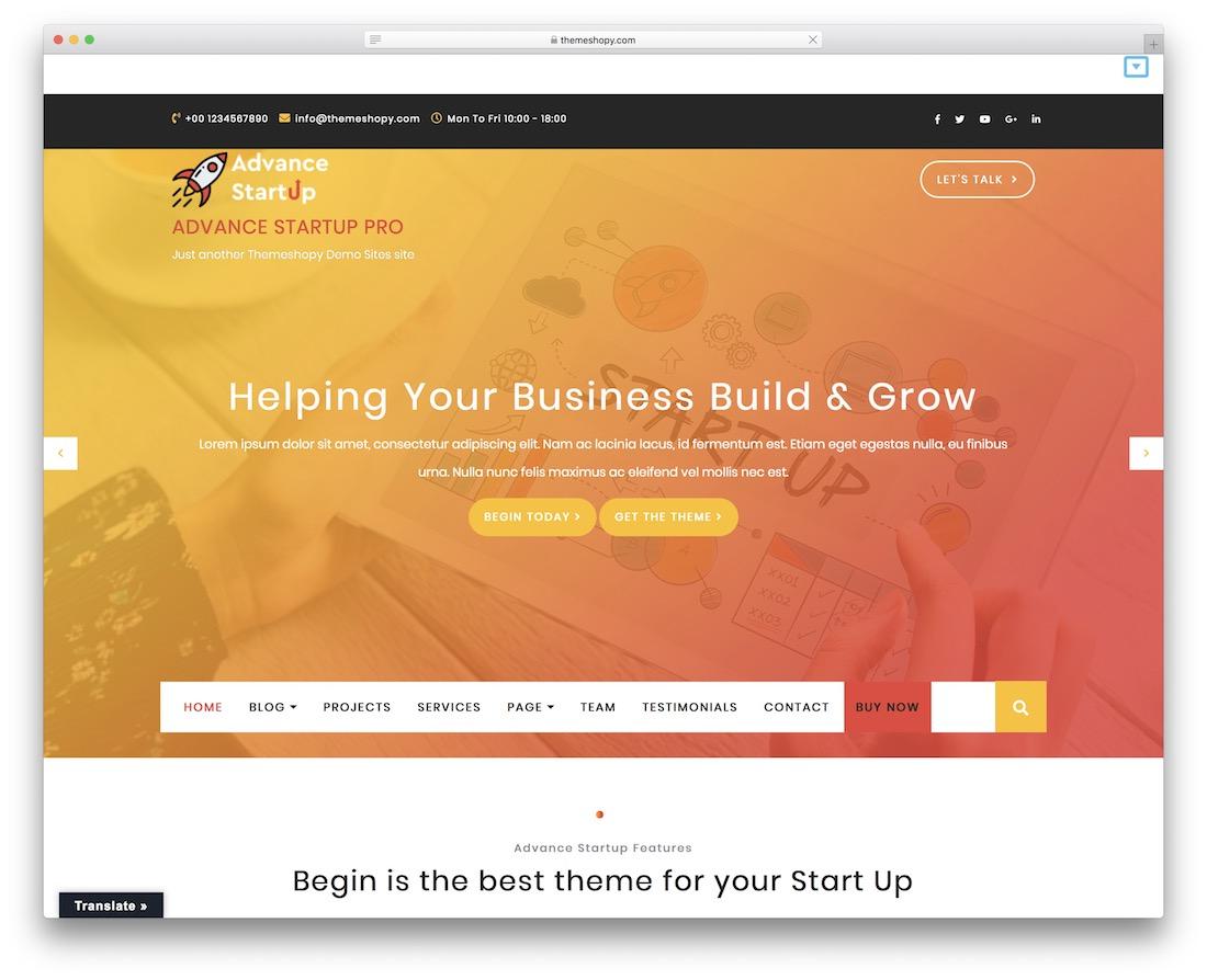 advance startup free wordpress theme