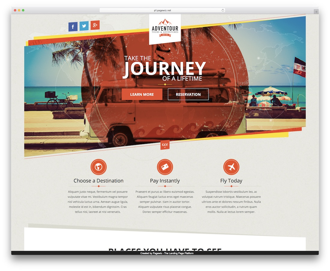 adventour pagewiz landing page template