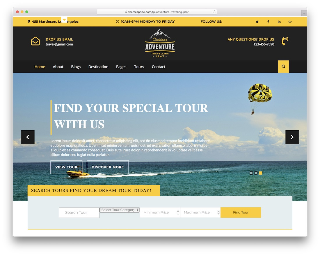 adventure travelling free bootstrap wordpress theme