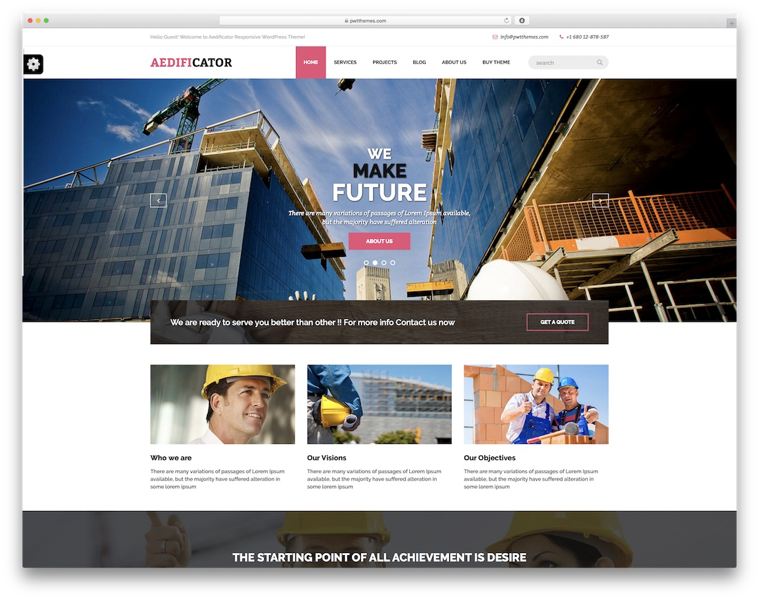 aedificator free construction website template