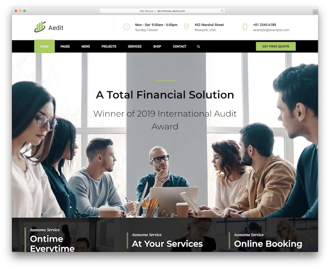 aedit financial website template