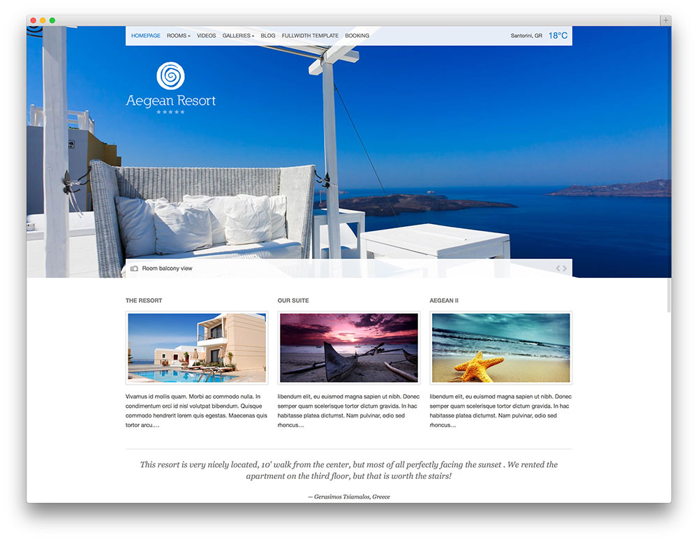 aegean classic resort theme