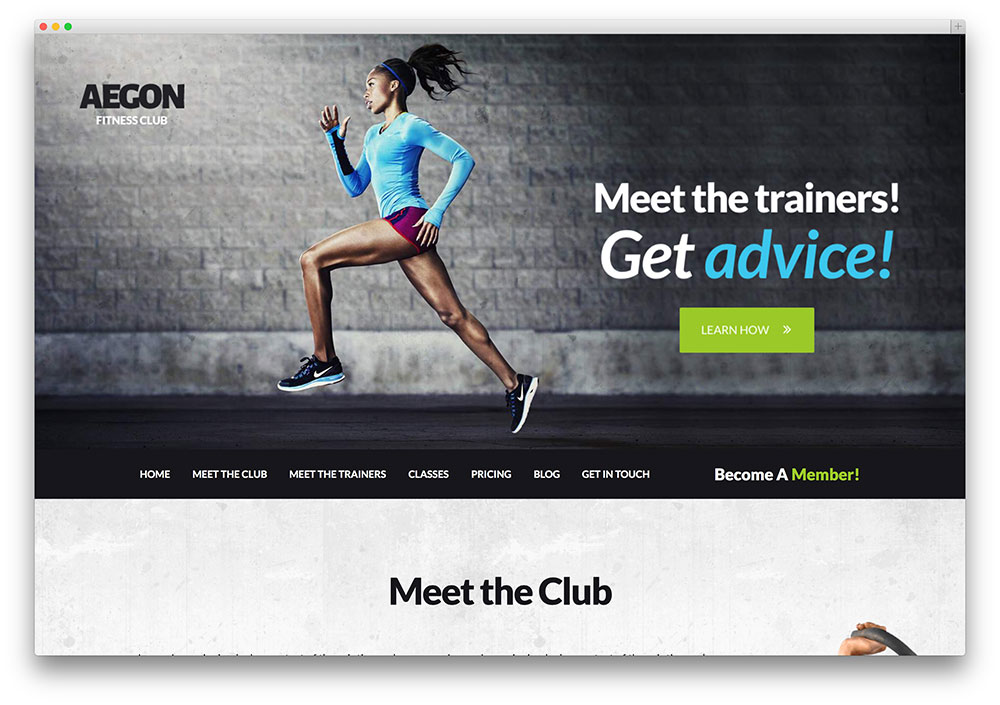 Aegon fitness club WordPress theme