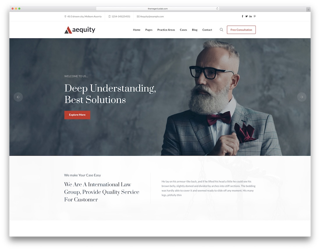 aequity lawyer website template