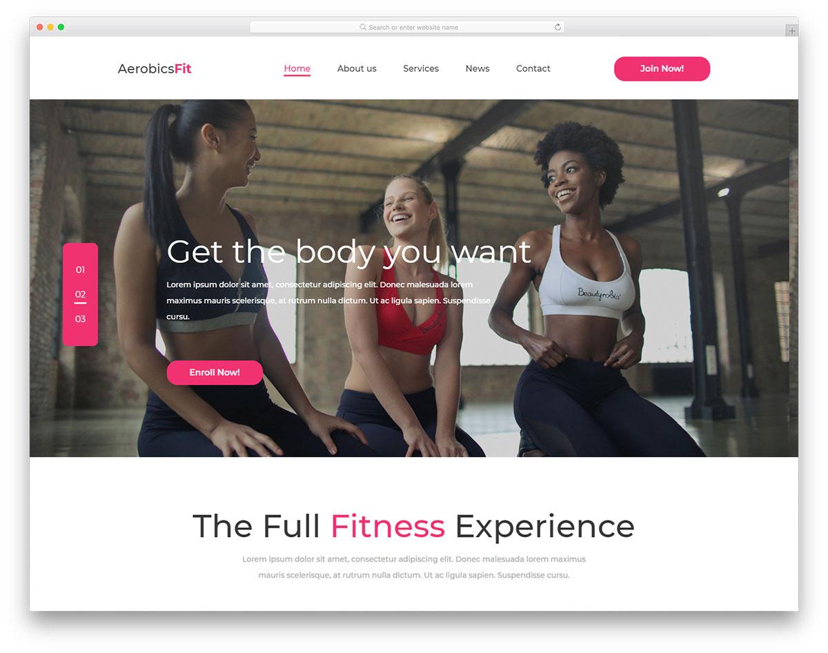 Скачать бесплатно html шаблон AerobicsFit