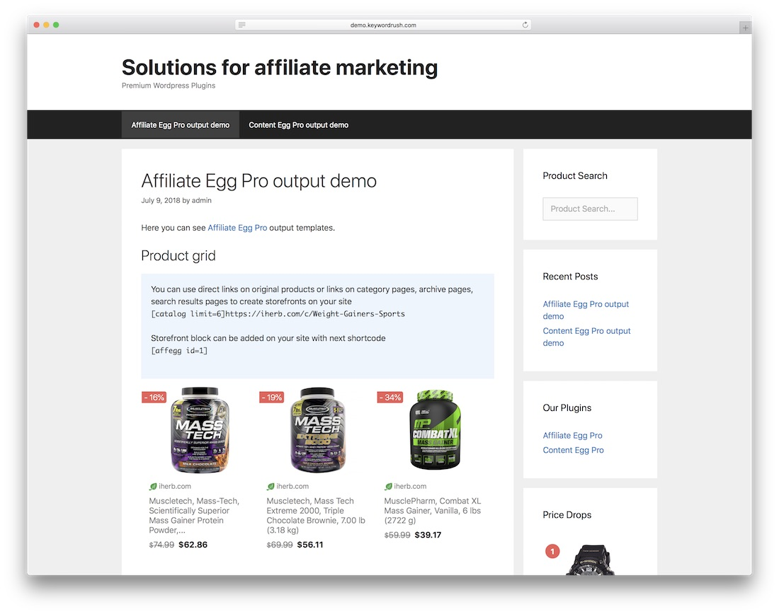affiliate egg wordpress advertising plugin