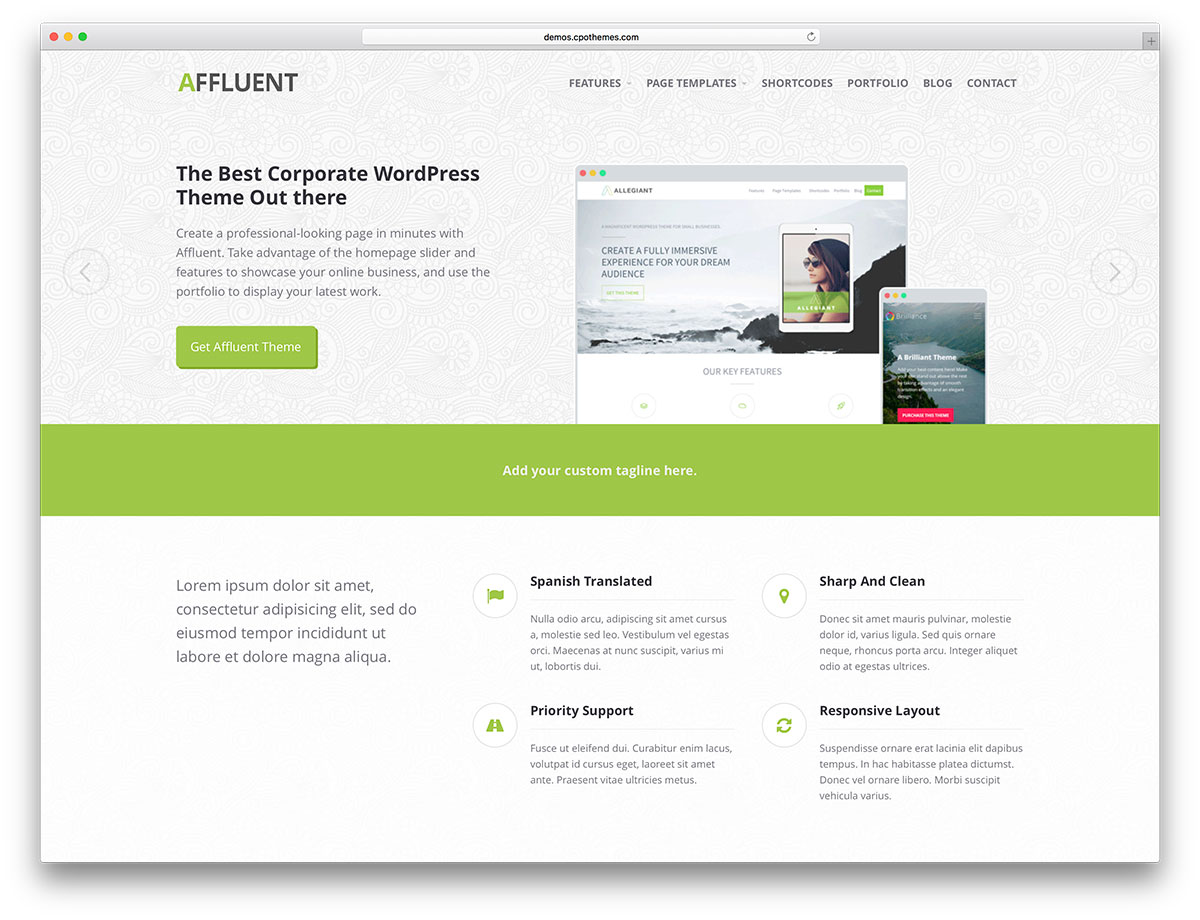 50 best free responsive wordpress themes 2018 colorlib affluent light wordpress website theme pronofoot35fo Gallery