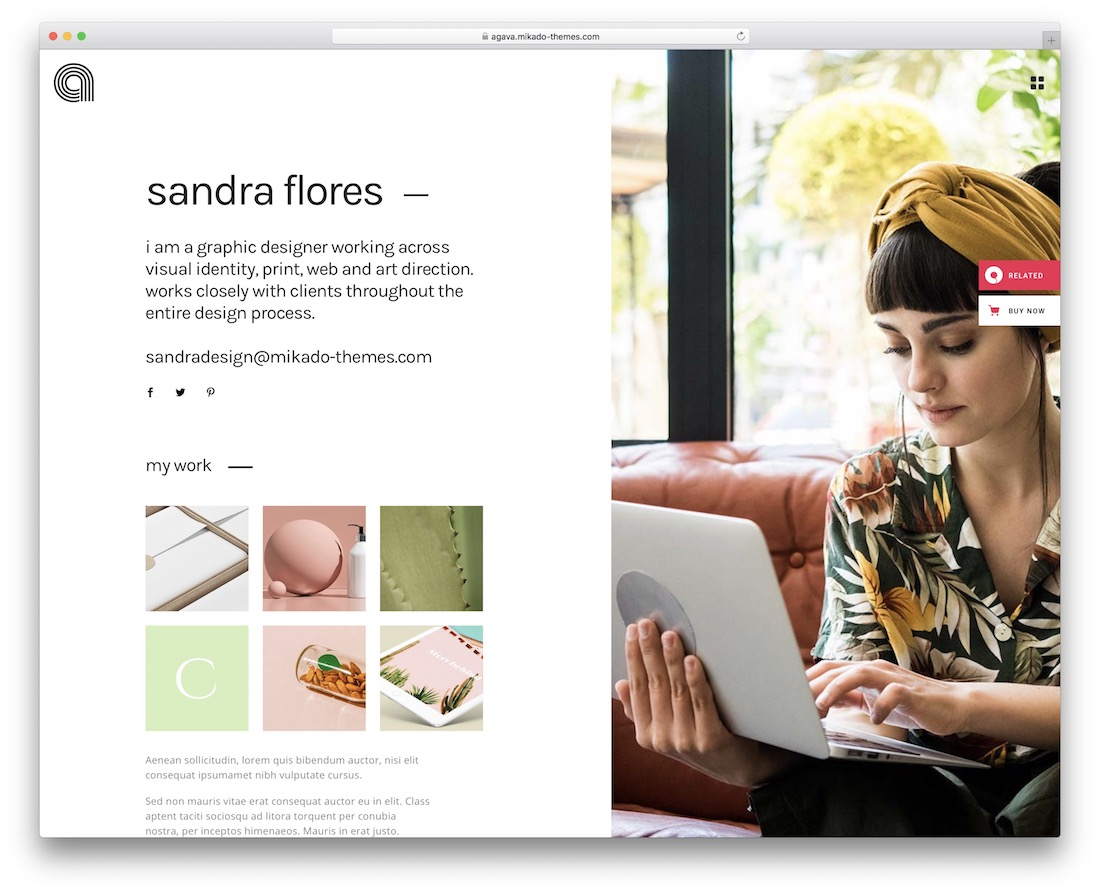 agava vcard wordpress theme