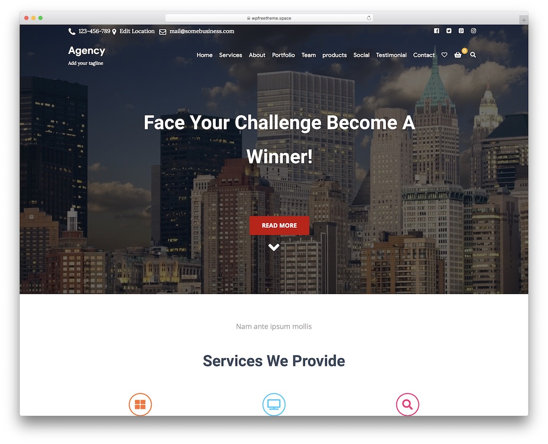 agency starter free bootstrap wordpress theme