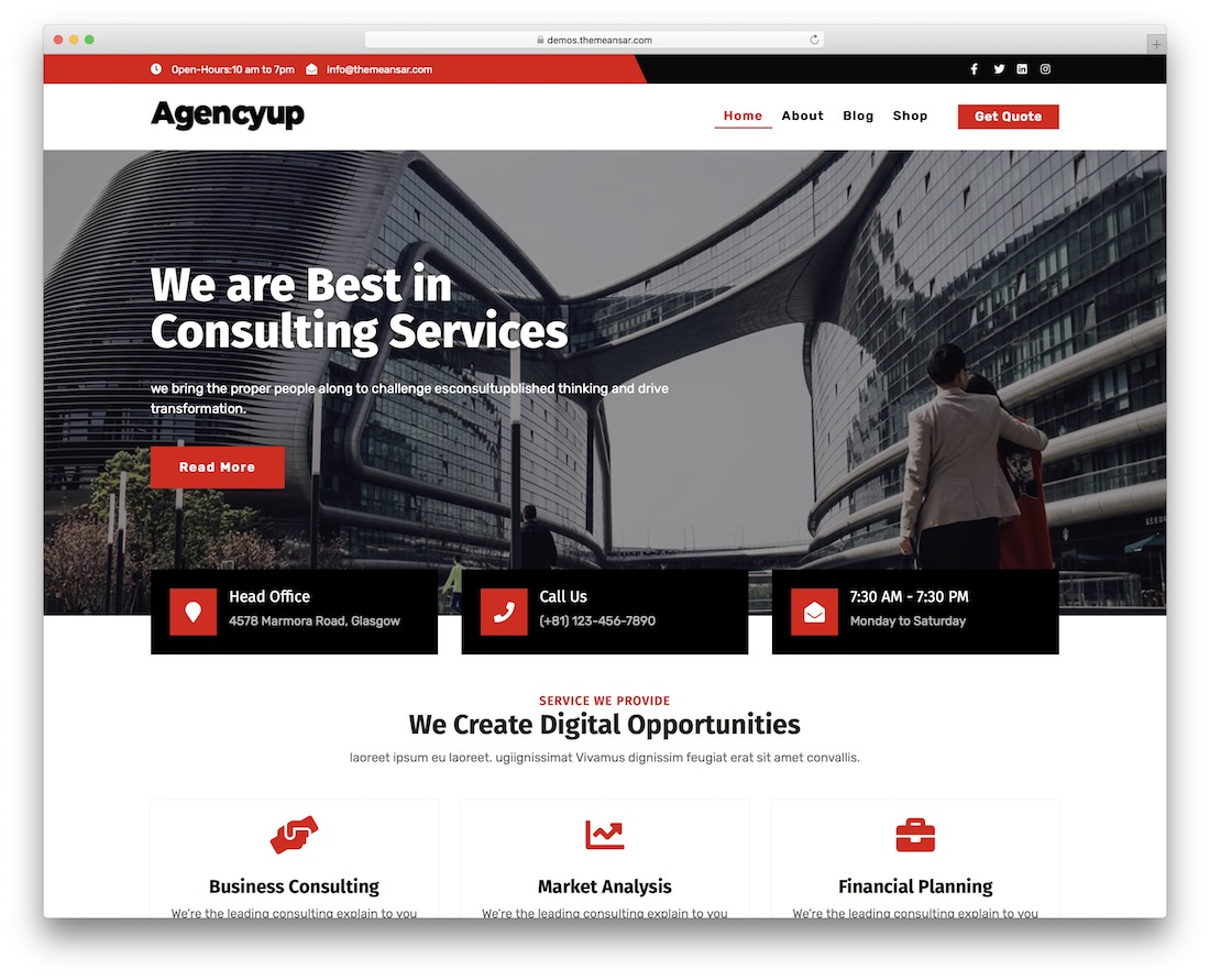agencyup free wordpress business theme