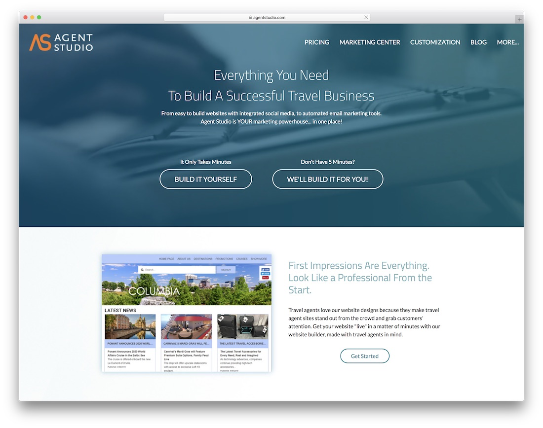 agent studio travel agency website builder