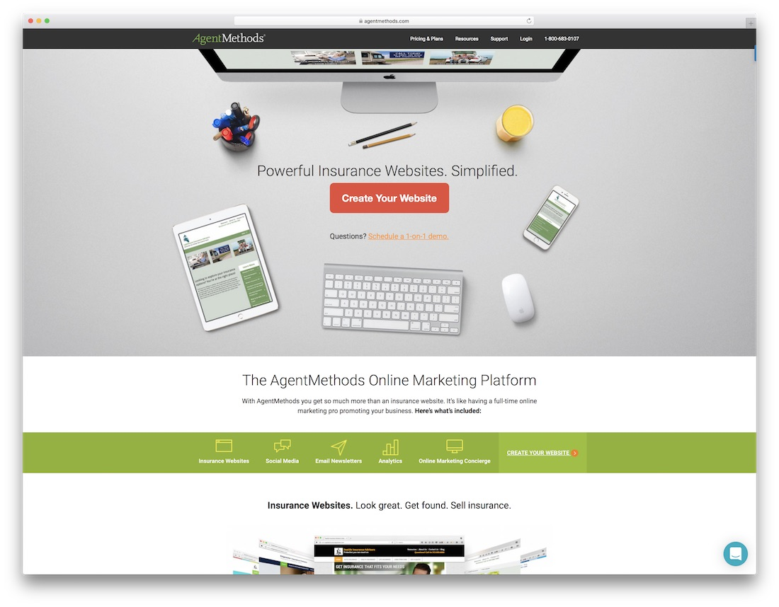 agentmethods insurance website builder