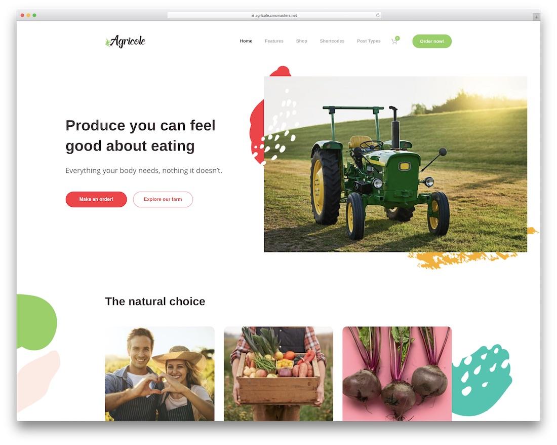 agricole best food wordpress theme