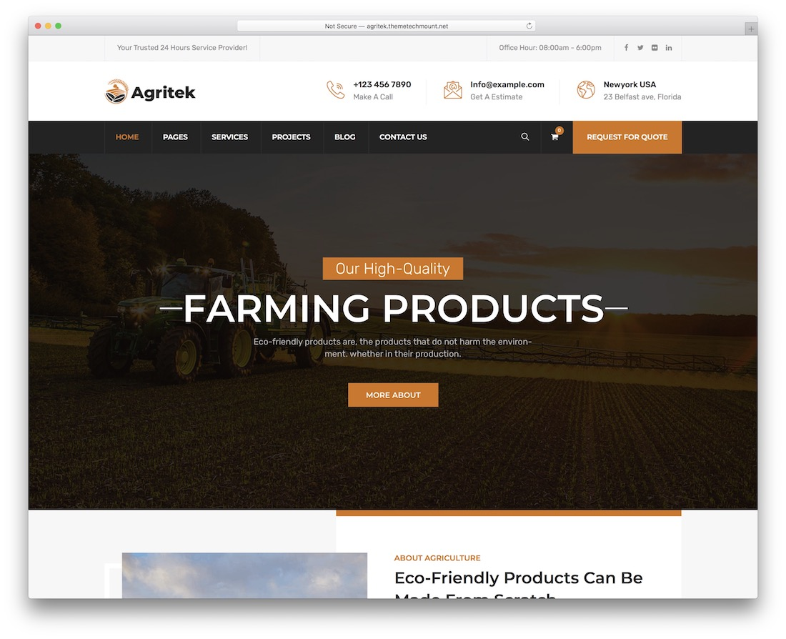 agritek farming wordpress theme