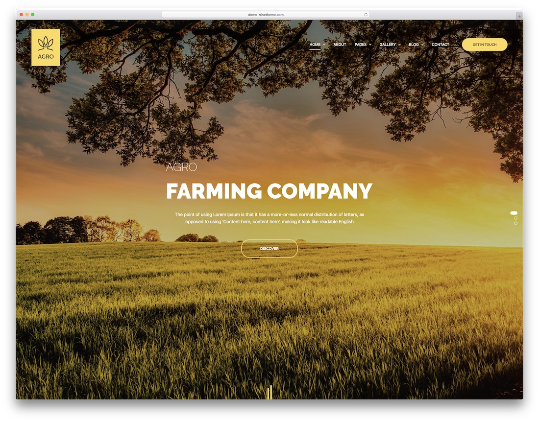 agro farming wordpress theme