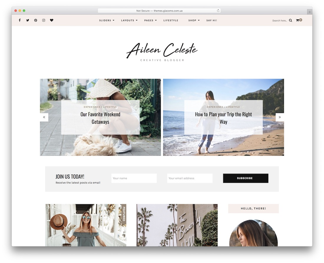 aileen personal blog wordpress theme