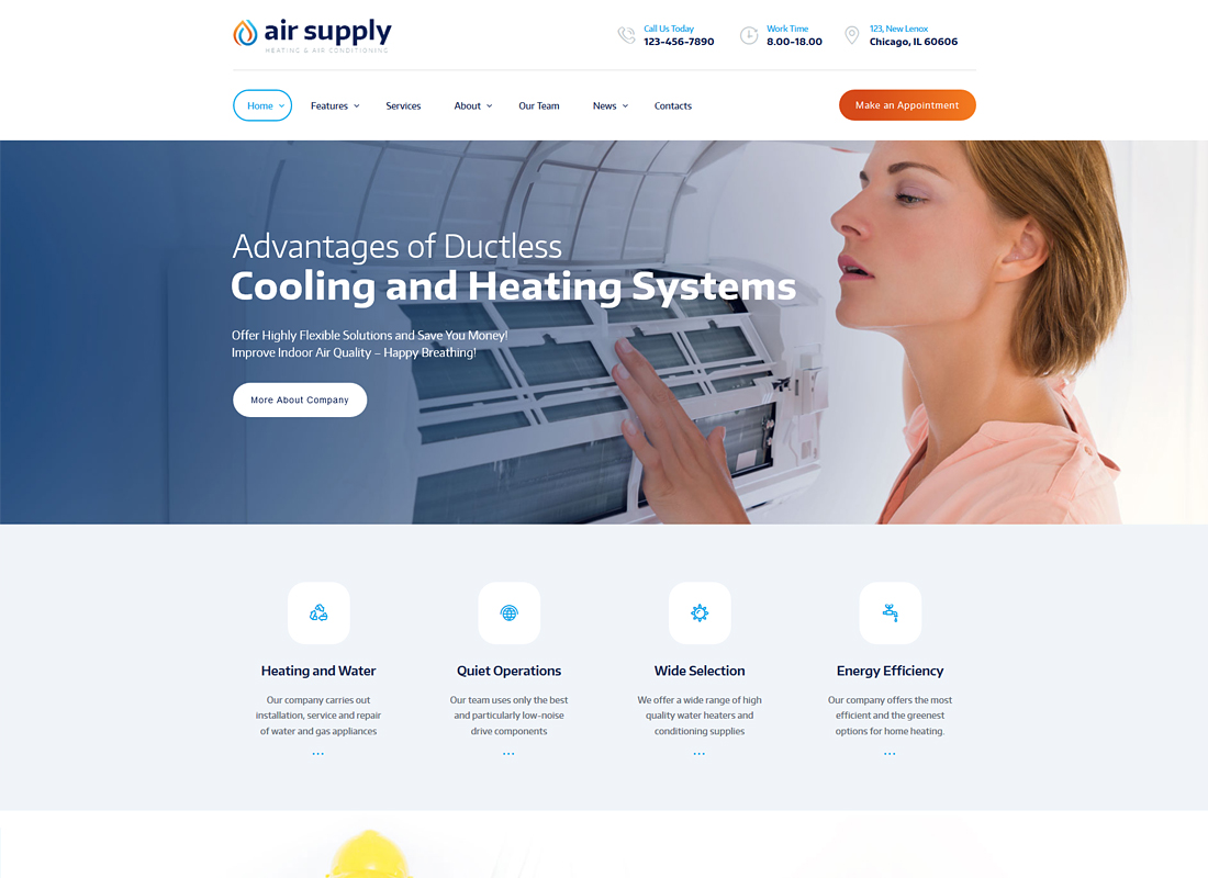 Air Supply | Air Conditioning Company and Heating Services WordPress Theme + RTL
