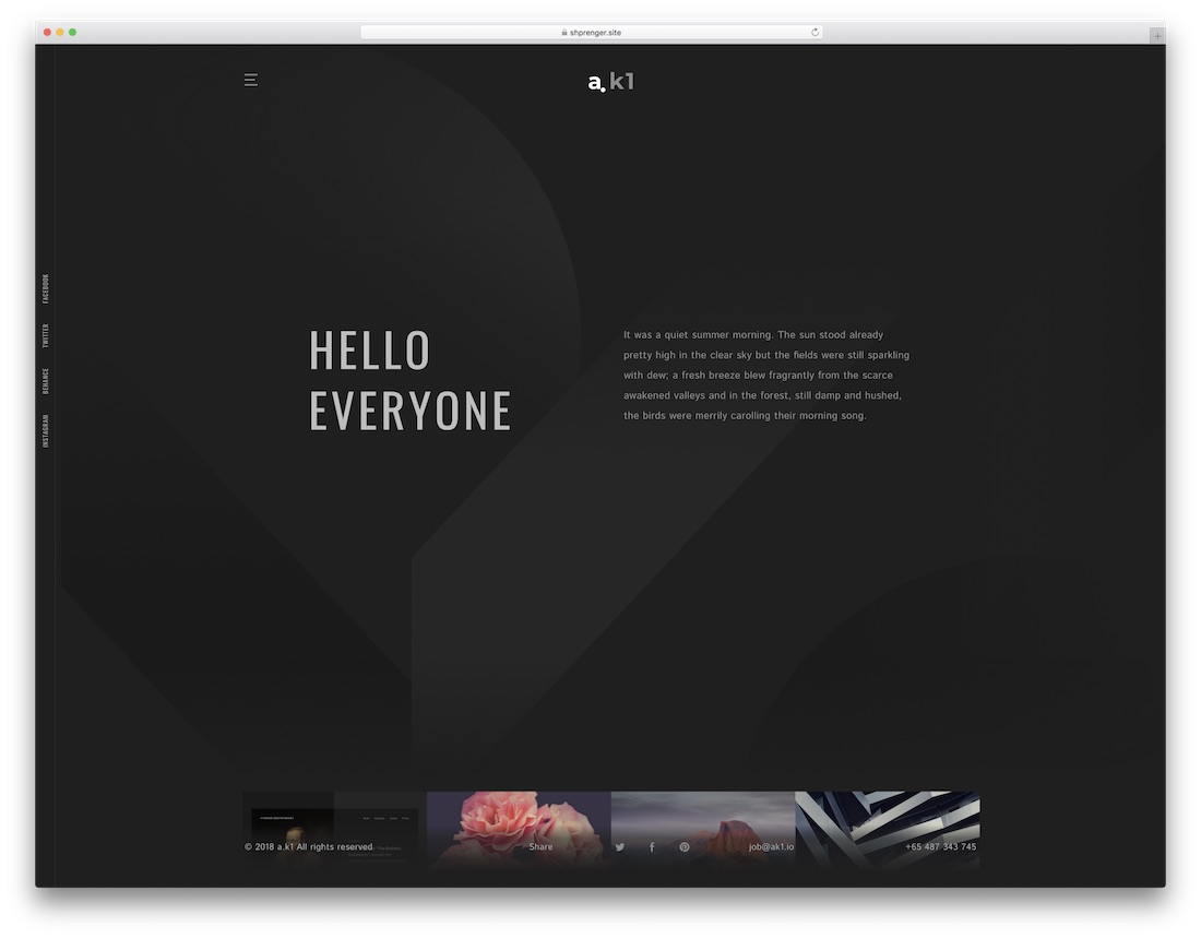 ak1 writer website template