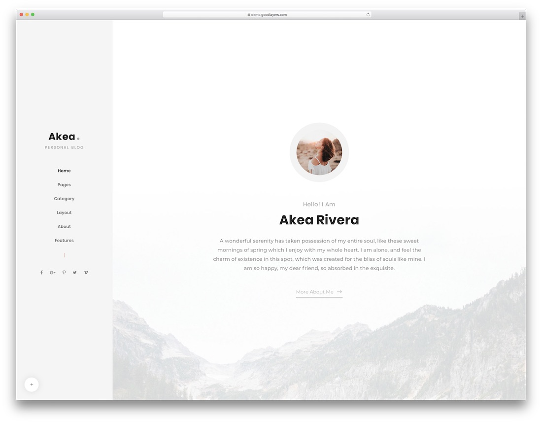akea best personal blog wordpress theme