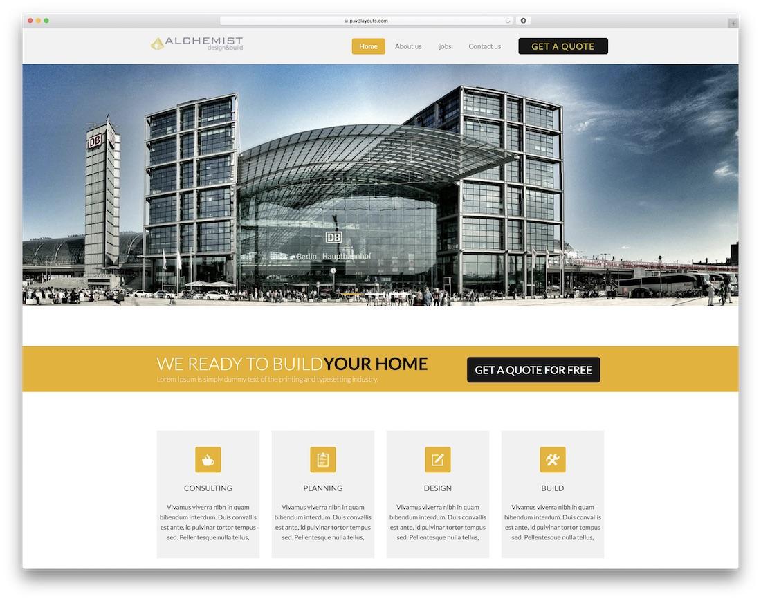 alchemist free construction website template