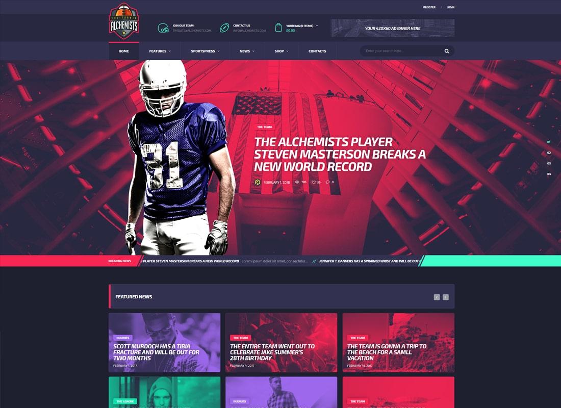 Alchemists | Sports Club and News WordPress Theme