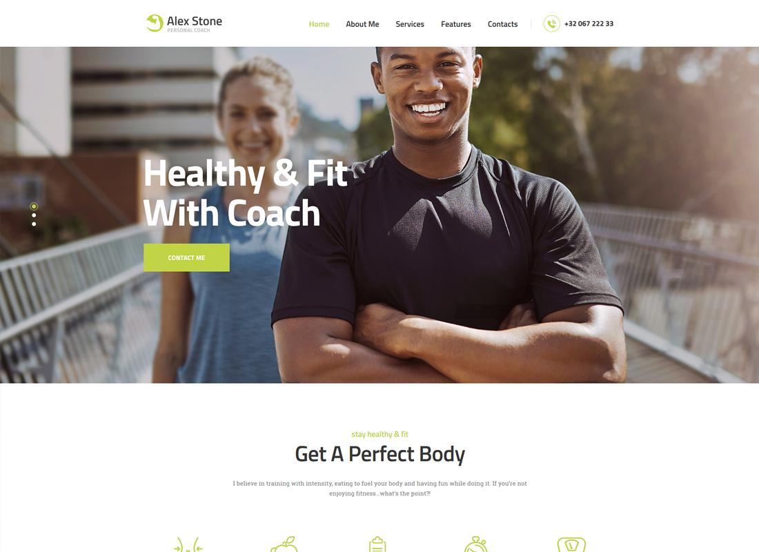 Alex Stone - Personal Gym Trainer WordPress Theme