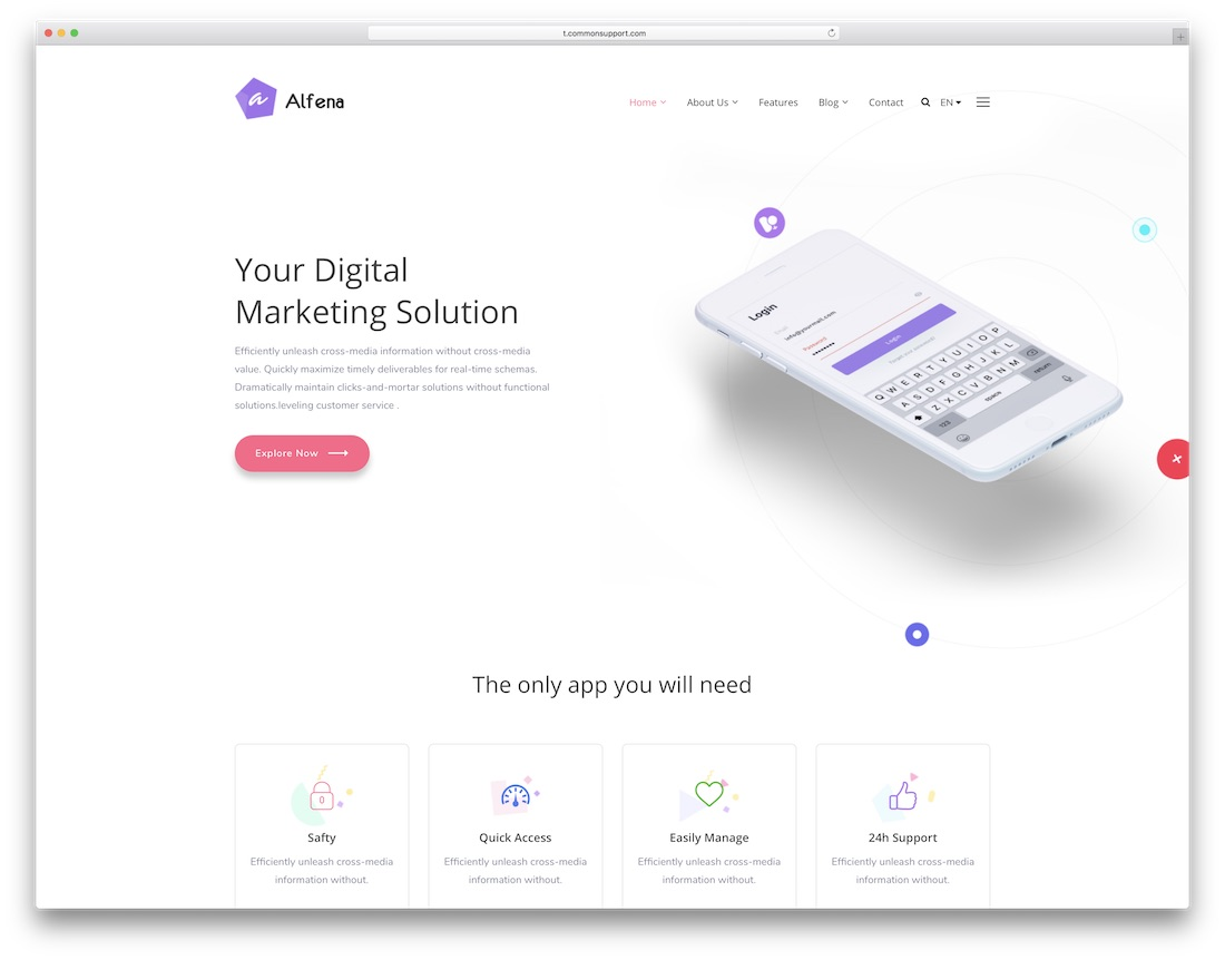 alfena-software company website template