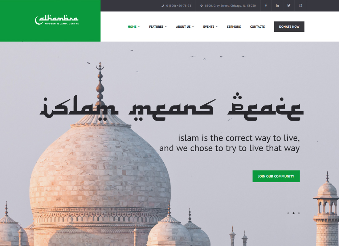 Alhambra - Islamic Centre WordPress Theme + RTL