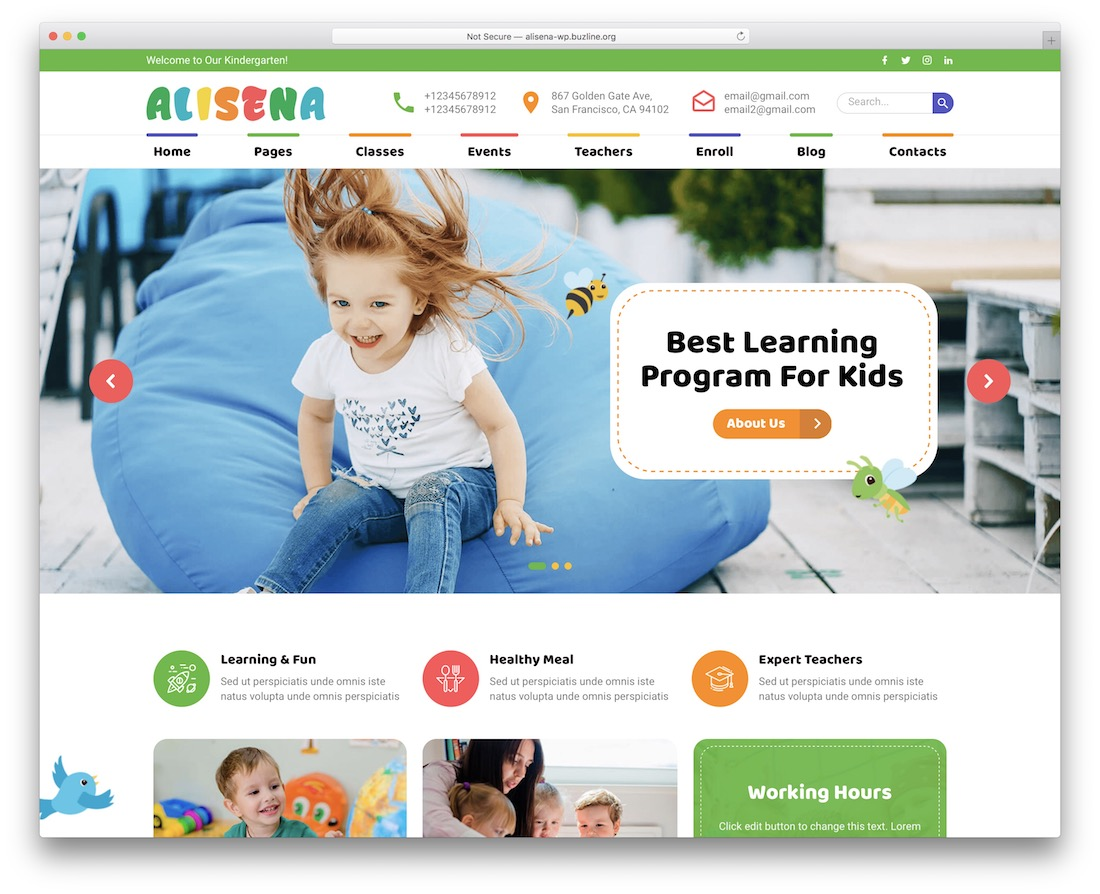 alisena kindergarten wordpress theme