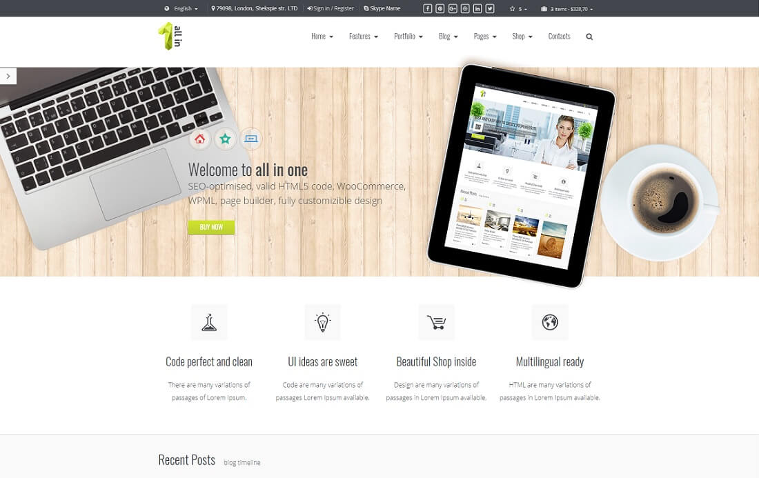 all in one bootstrap business website template