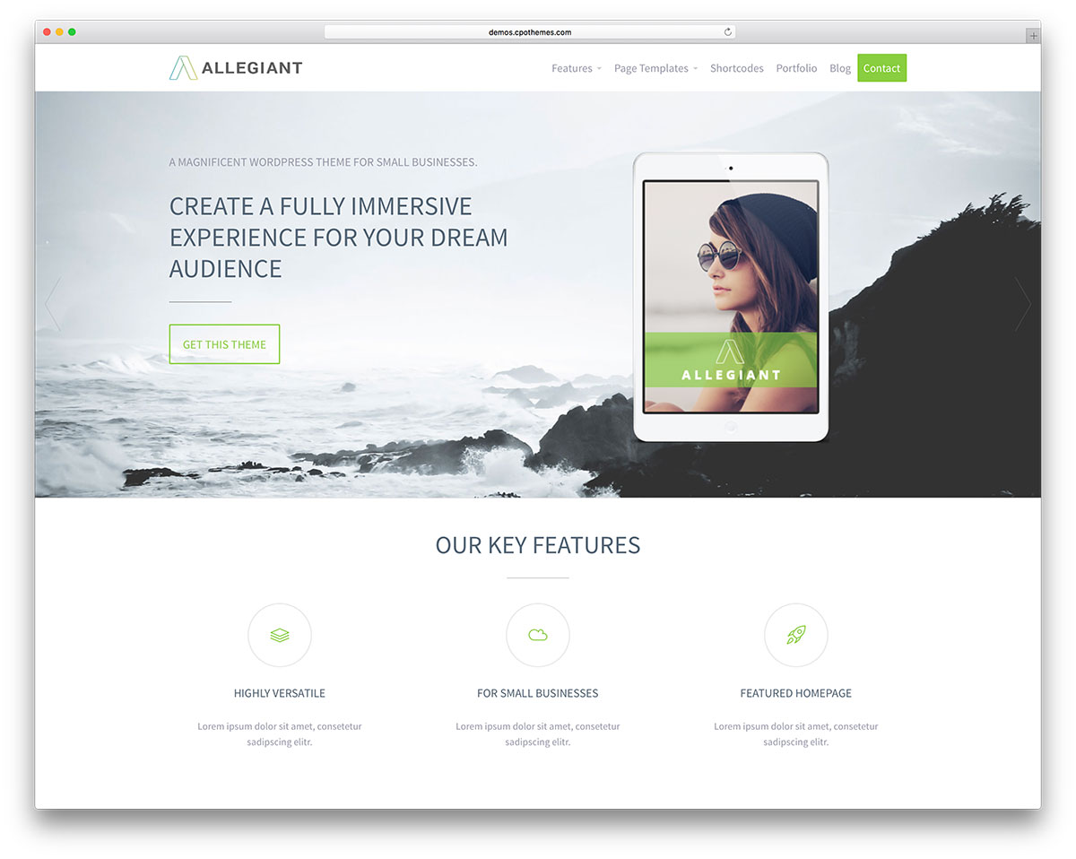 30 free responsive wordpress business themes 2018 colorlib allegiant best free wordpress theme accmission Choice Image