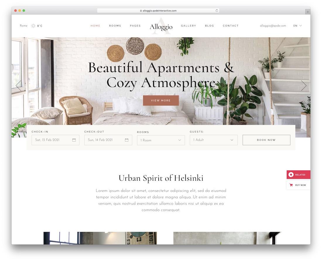 alloggio hotel wordpress theme